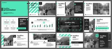 Gröna themed presentationsmallar Arkivbilder