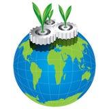 Gröna tjänstledigheter med kugghjulbegreppsvektorn Royaltyfri Bild