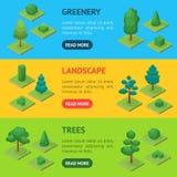 Gröna träd parkerar isometrisk sikt för banerhorisontaluppsättning 3d vektor Arkivfoto