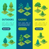 Gröna träd parkerar isometrisk sikt för den banerVecrtical uppsättningen 3d vektor Arkivbilder