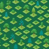 Gröna träd parkerar sömlös isometrisk sikt för modellbakgrund 3d vektor Royaltyfri Foto