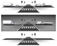 Gröna trafikljus Arkivbild