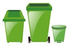 Gröna trashcans i tre olika format Royaltyfri Bild