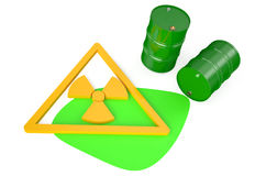 Gröna trummor med radioaktiv avfalls royaltyfri illustrationer