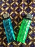 gröna två och blåa gasmatcher royaltyfri illustrationer