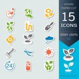 Gröna växter och grodden som växer infographic symboler, ställde in, vektorillustrationklistermärkear och papperssnittstil Royaltyfri Fotografi