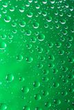 Gröna vattensmå droppar på ett exponeringsglasslut upp makroskott regniga dagar arkivfoton