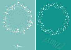 Gröna vektormusikbakgrunder med vita dekorativa musikanmärkningar stock illustrationer