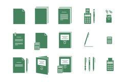 Gröna vektorsymboler för kontor för datorpapper Royaltyfri Bild