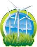 gröna windmills för energi Royaltyfria Foton