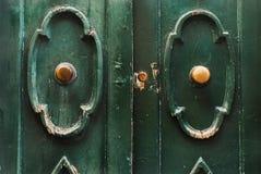 Gröna wood dörrar med förgyllda handtag Arkivfoton