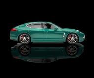 Grönaktig bil på svart reflekterande bakgrund Arkivfoto