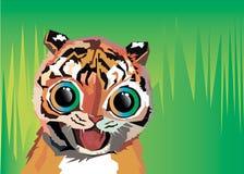 Gröngöling för djur för tecknad film för tigervektorillustration stock illustrationer