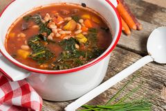Grönkål och Bean Soup Arkivbild