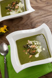 Grönkål-potatis soppa med mandeln Royaltyfria Bilder