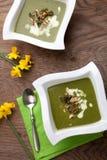 Grönkål-potatis soppa med mandeln Royaltyfri Foto