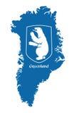 Grönlandöversikt med vapenskölden Royaltyfria Bilder