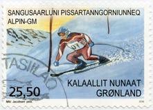 GRÖNLAND - 2016: zeigt die alpine Sport Grönland-Meisterschaft, Reihe Sport in Grönland stockfotografie