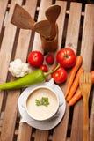 grönsak för soup för fokusmakro grund Arkivfoton