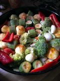 Grönsak i pannan Arkivbilder