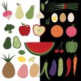 Grönsak- och fruktuppsättning royaltyfri illustrationer