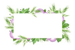 Grönsak- och kryddarammall Denna är mappen av formatet EPS10 Den purpurfärgade skivade löken, dill, persilja, pepparkorn och lage stock illustrationer
