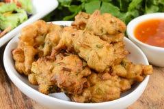 Grönsak Pakora eller lök Bhajis Arkivfoto