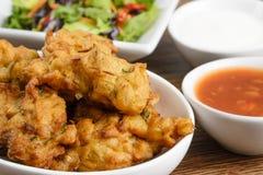 Grönsak Pakora eller lök Bhajis Arkivfoton