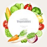 Grönsakbakgrundsrunda stock illustrationer
