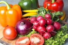 grönsakblandning köket Rädisa tomat, röd paprika, grön paprika, gul paprika, glödhet chilipeppar, gul varm chili arkivfoto