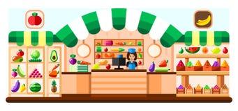 Grönsaken shoppar inomhus med säljaren, ställer ut och kylskåpet Supermarketinre med godbitar bär fruktt grönsaker vektor illustrationer
