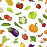 Grönsaker aubergine och fastställd sömlös modellvektor för pumpa royaltyfri illustrationer