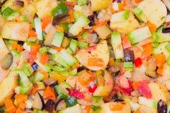 Grönsaker för att laga mat en ratatouillecloseup Royaltyfria Bilder
