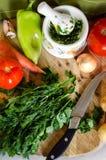 Grönsaker för att laga mat matställen Royaltyfri Bild