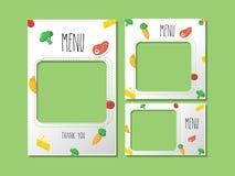 Grönsaker för banermatmall planlägger konstarbete royaltyfri illustrationer