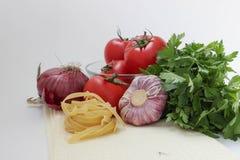 Grönsaker för coocking pasta Arkivfoto