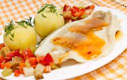 grönsaker för filéfiskhav Royaltyfria Bilder