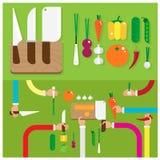 Grönsaker för mat för matlagning för vektoruppsättningkniv beväpnar och räcker Royaltyfria Bilder