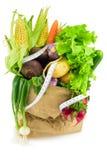 Grönsaker för mat för pappers- påse organiska Royaltyfri Fotografi