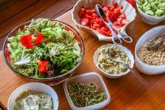 grönsaker för rad för mat för bönamorotblomkålar naturliga Royaltyfria Foton