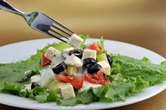 grönsaker för salat för ostfeta nya Arkivfoto