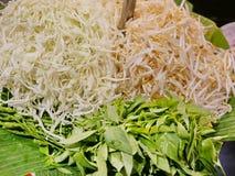 Grönsaker grönsaker för sidomaträtt, för thailändska risnudlar i sås Kanom Jeen och många andra thailändska menyer royaltyfria bilder