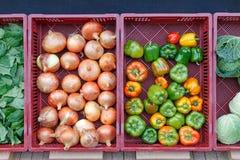 Grönsaker framme av livsmedelsbutiken i höst Royaltyfri Bild