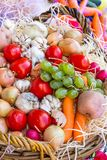 Grönsaker, frukter och bär i korgen Skörd till Thaen royaltyfri fotografi