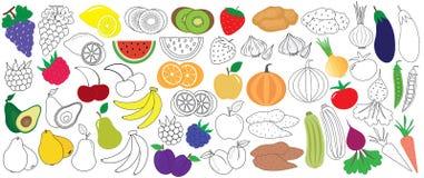 Grönsaker, frukter och bär som är färgrika och i svart med vit royaltyfri illustrationer