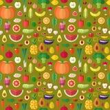 Grönsaker, frukter och tokig sömlös vektormodell Plan design Royaltyfri Bild