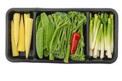 Grönsaker i ask Arkivfoton