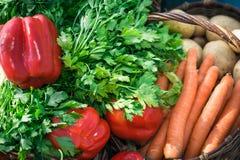 Grönsaker i korgslutet upp Royaltyfri Foto