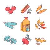 Grönsaker med den fruktsaftutsugningsfläkten och pressen Royaltyfria Foton