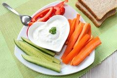 Grönsaker med gräddfil Royaltyfri Fotografi
